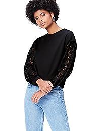 Amazon-Marke: find. Sweatshirt Damen mit Spitze und rundem Ausschnitt