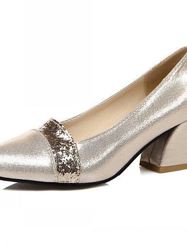 WSS 2016 Chaussures Femme-Bureau & Travail / Habillé / Décontracté-Noir / Argent / Or-Gros Talon-Talons-Talons-Similicuir black-us10.5 / eu42 / uk8.5 / cn43