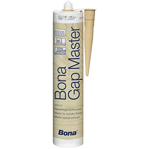 Bona gap master è un mastice senza silicone nei colori dei vari legnami, ideale per stuccare parquet, battiscopa e tutte le superfici in legno, inodore ed atossico (rovere scuro)