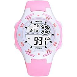 Digital-analog Boys Girls Luminous Sport Digital Watch with Alarm Stopwatch Chronograph - 50m Water Proof(Pink)