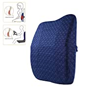 Gluckluz Lumbar Support Pillow Memory Foam Back Cushion for Office Chair Car Seat (Blue)