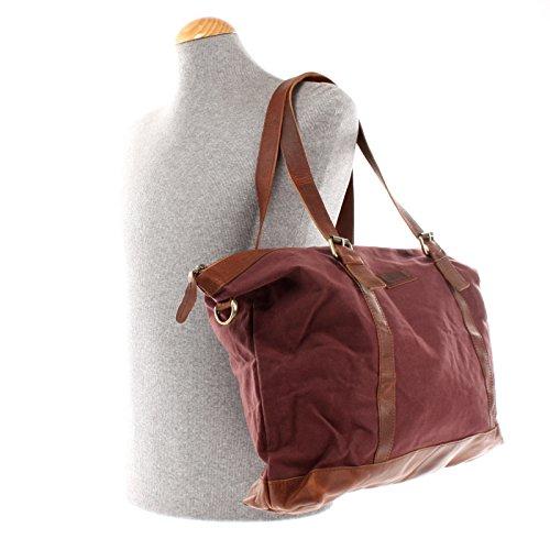 LECONI Weekender Canvas Rindsleder Reisetasche XL Shopper Damen Herren Retro Look 50x36x15cm LE2013-C bordeaux / braun
