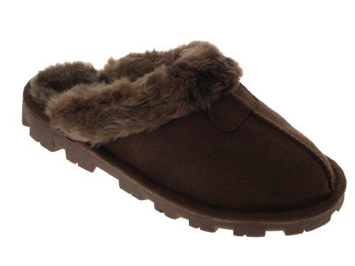 Damen-/Mädchenpantoletten aus Veloursleder, mit unechtem Fell gefüttert, warm und bequem, Schuhgrößen 35,5-42 Dunkelbraun