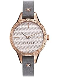 Esprit Damen-Armbanduhr dark Grau Analog Quarz Leder ES109052005