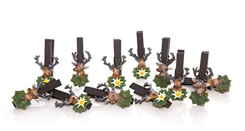 12 Stück Holzklammern mit Hirsch aus Poly; 8 cm lang - Bayerische Dekoration - nicht nur zum Oktoberfest - tolle Dekoklammern