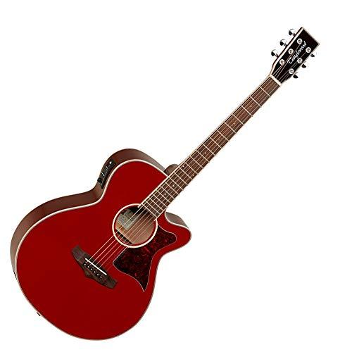 Tanglewood TW4E Winterleaf Super Folk Electro - Guitarra acústica, color rojo brillante