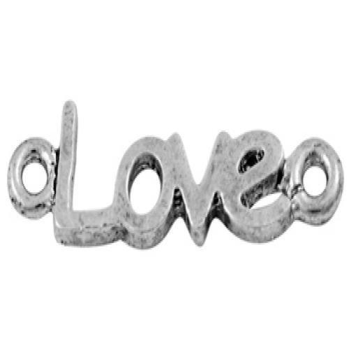 Pandahall 20PCS Ciondoli per Collane Bracciali Link LOVE Stile Tibetano Argento Antico Per San Valentino, Senza Piombo & Cadmio & Nichel, circa 24mm di Lunghezza, 7mm di Larghezza, 2mm di Spessore, Foro: 1.5mm