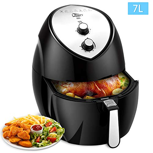 Air Fryer, Uten 7L Power Air Fryer with Rapid Air Circulation System Adjustable Temperature and 30 Minute Timer for Healthy Oil Free & Low Fat Cooking 7L Family Sized 1900W