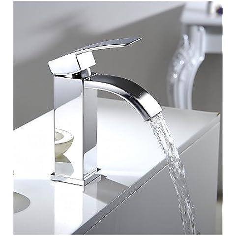Sola manija ZQ del recipiente del fregadero del grifo de la cascada vanidad del cuarto de baño Rectangular grande con caño cromado grifo mezclador monomando para