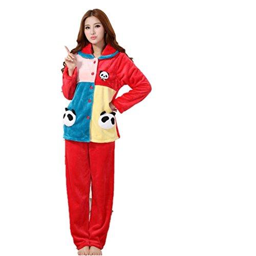 LIUDOU Femmes Coral Fleece couleur correspondant pyjama flanelle Panda filles