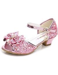YOGLY Sandalias Para Niñas Zapatos de Tacón Disfraz de Princesa Niñas Fantasía de Tacones Altos Lazo