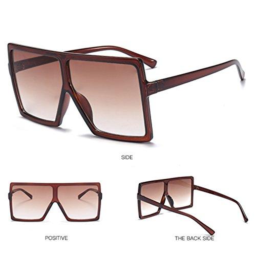 Manyo Retro Square Sonnenbrille, breiter Rahmen, für Männer und Frauen, Unisex, Brille aus Kunststoff -