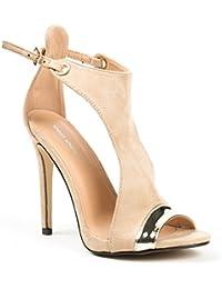 Ideal Shoes - Sandales bi-matière à talons et bout ouvert Alicia
