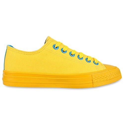 Trendige Unisex Sneakers   Low-Cut Modell   Basic Freizeit Schuhe   Viele Farben   Gr. 36-45 Gelb