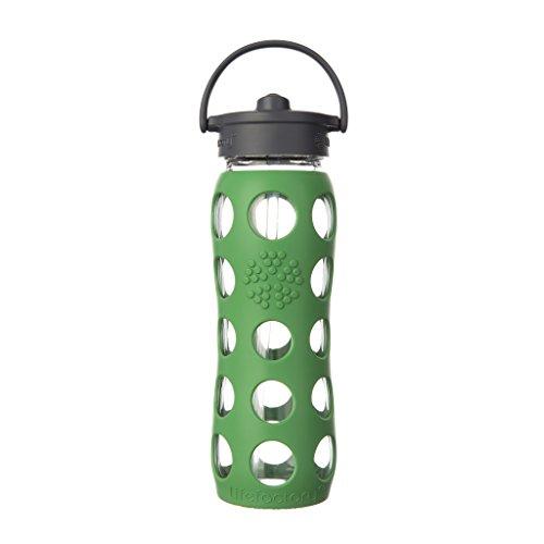 Lifefactory 15012 Glas -Trinkflasche 650ml, Straw Cap, grass green