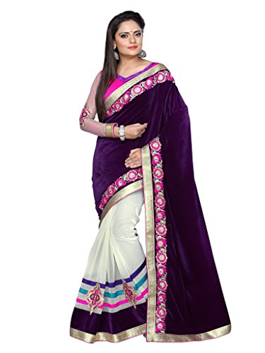 Designer Heavy Velvet + Super Net Sarees With Dhupiyan +sleeve work Blouse Material