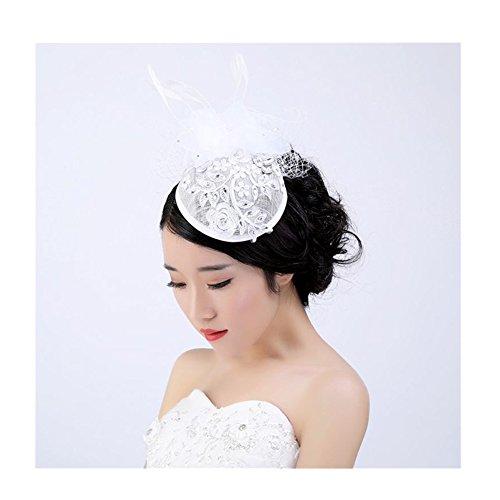 Fascia Cappello Bandiera decorativa cappello da cerimonia nuziale elegante con velo retro piuma(stile