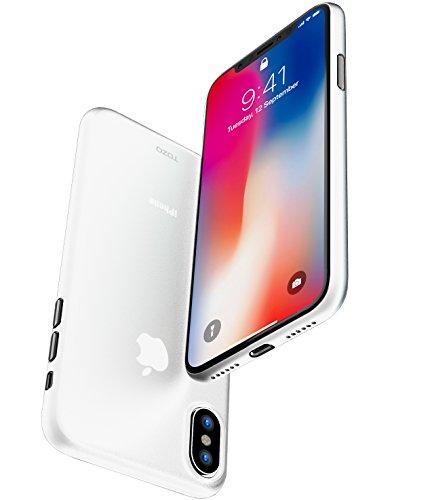 Coque iPhone X, TOZO Housse PP Ultra Mince [0.35mm] le Plus Mince du Monde de Protection Rigide [Semi-Transparent] Léger iPhone 10 / X Protective Case Cover [Noir Matte] Blanc mat