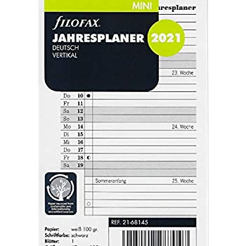 Filofax 2021 Calendario personale annuale in verticale