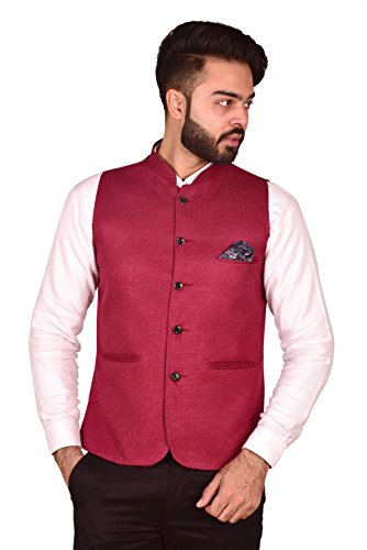 Wearza Men's Woven Cotton Blend Sleevless Rounded Bottom Nehru and Modi Jacket...
