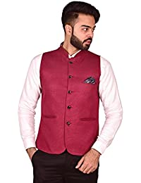 Wearza 12 Rounded bottom/6 Coat Cut Party/Casual Men's Band Collar Waist Coat - Sizes S-3XL