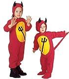 Tamaño 110-3 - 4 años - Disfraz - Traje - Carnaval - Halloween - Diablo - Demonio infernal - Rojo - Niños
