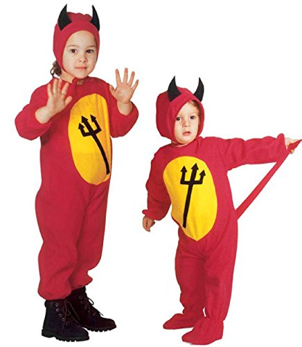 Größe 110-3 - 4 Jahre - Kostüm - Verkleidung - Karneval - Halloween - Teufel - Höllendämon - Rot - Kinder