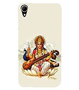 Fuson Designer Phone Back Case Cover HTC Desire 828 Dual Sim ( Goddess Saraswati And Her Peacock )