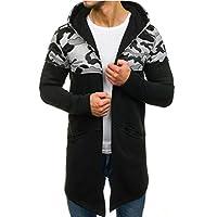 Men Hoodies Long Coat, Male Camouflage Printed Long Sleeve Cardigan Outwear