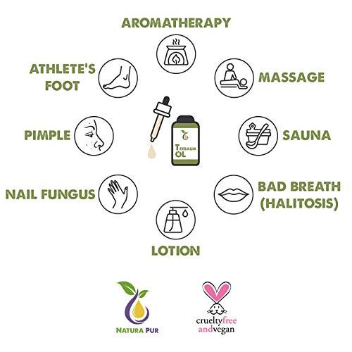 Natura Pur Bio Teebaumöl 50ml - 100% naturreines ätherisches Öl aus Australien, vegan - zur Anwendung auf unreiner Haut, Hautentzündungen, Anti Pickel, Akne sowie Warzen und Pilzen - Diffuser Öl - 3
