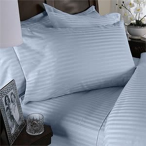 Egyptian Cotton Factory Store 7pc Italienisches 1500 Fadenzahl Ägyptische Baumwolle Set - Inklusive-Bettlaken-Set & Bettbezug-Set, King, Gestreift, Blau, Premium Italienisches Finish