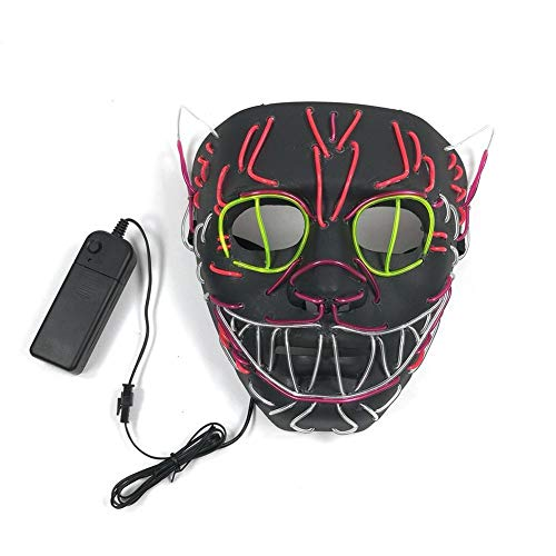 ZHANGDONGLAI Halloween Dekoration LED Maske Glowing Cat Mask Kostüm Anonym Maske for Glowing Dance Karneval Party Masken (Color : Black)