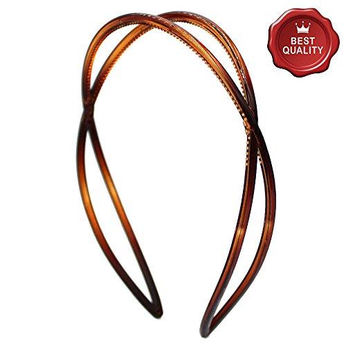 HB53-001 - Cheveux pour cheveux cm 2,5 barres entrelacées avec denture marron tortue - Bulles pour cheveux