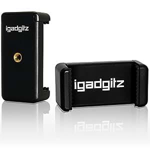 igadgitz Adaptateur de Fixation Support Pince Clip Smartphone Universel pour Trépieds et Bâton Selfie Stick