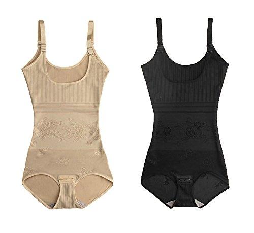 tuopuda Body faja reductora mujer abdomen con Gancho,cómodo y ligero Corsé Faja Para presumir de Buena Figura sin costuras (M (Waist 20.3-21.8 inch), 1 beige + 1 negro)