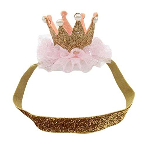 Sunnywill Kopf Zubehör Baby Haarband Haar Band elastisch Blume Krone Kopfbedeckungen für Mädchen (Golden)