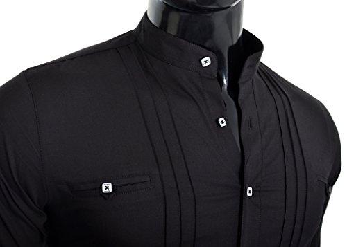 D&R Fashion Herren Elegantes Hemd mit Stehkragen Slim Fit Weiß Schwarz Baumwolle Schwarz
