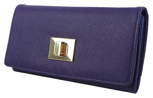 Kukubird Anteriore Twist Lock Chiusura Dettaglio Medio Ladies Pochette Portafoglio Della Borsa Purple