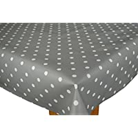 Slate Grey Polka Dotty Wipe Clean Tablecloth Vinyl by Karina Home 200cm x 137cm