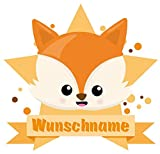 Samunshi® Fuchs Aufkleber mit Namen Autoaufkleber Namensaufkleber Kinder in 7 Größen (10x8,8cm Mehrfarbig)
