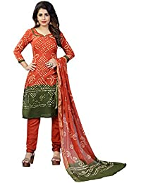 Taboody Empire Brink Orange Satin Cotton Handi Crafts Bandhani Work With Straight Salwar Suit For Girls And Women