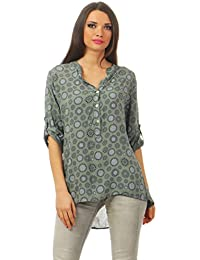 Damen Freizeit Langarm 3 4 Leichte Bluse Tunika Hemdbluse mit V Ausschnitt  High Low Schnitt 9d39bf299e
