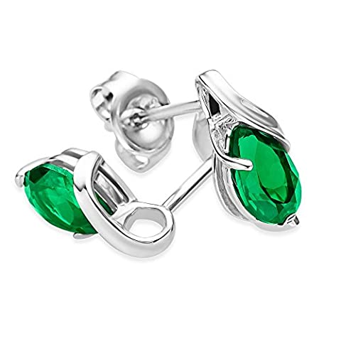 Miore Ladies 9ct White Gold Pear shape Emerald Earrings