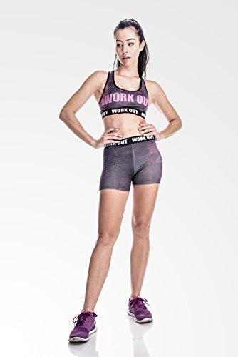fringoo kurze Fitness Leggings Workout dehnbar GALAXY shorts - 2