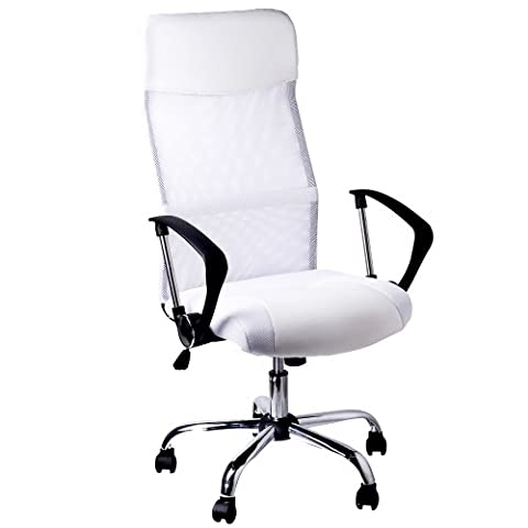 Fauteuil de bureau blanc Chaise de bureau Siège ordinateur ergonomique rembourré Dossier Hauteur