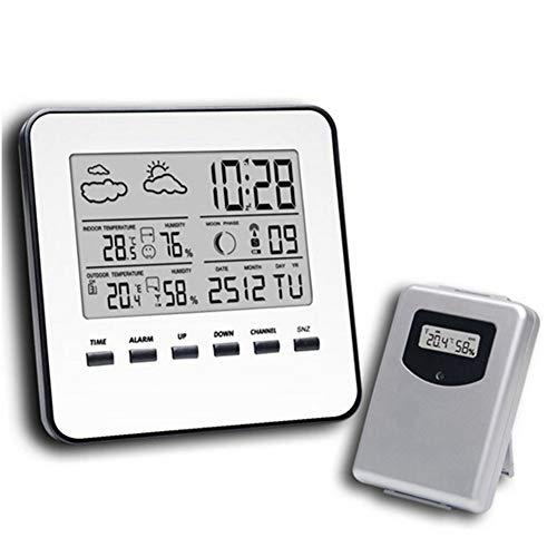 HULU Wetterstation 2-in-1 Wireless Thermometer Hygrometer Innen-Kalender Wecker Phasenanzeige