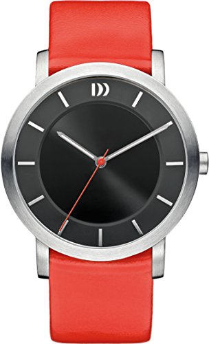Danish Design Women's Quartz Watch with Black Dial Analogue Display and Red Leather Strap DZ120274
