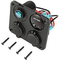 Puertos USB duales Cargador de automóvil + voltímetro LED + Toma de Corriente de 12 V + Interruptor de Encendido-Apagado 4 en 1 Panel de Interruptor LED de Barco Marino de automóvil