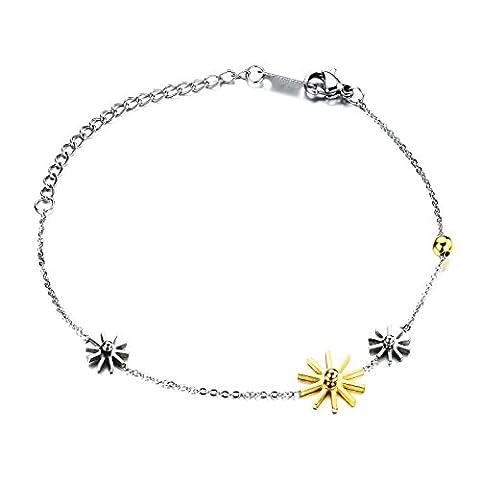 [M.JVisun] New Women Bracelets Stainless Steel Two-Tone Charm Snowflake Chain, Silver Gold, 6.29