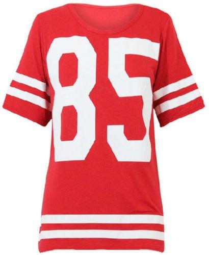 Mix lot des nouvelles femmes dames américain maillot de football de haut 85 impression t-shirt casual wear taille 36-42 (M/L 40-42, rouge)